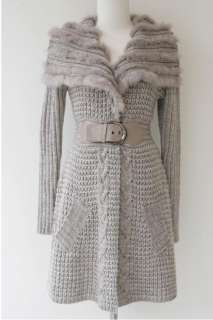 New woman Gray Wool blend rabbit fur Longer Sweater knit Jumper coat