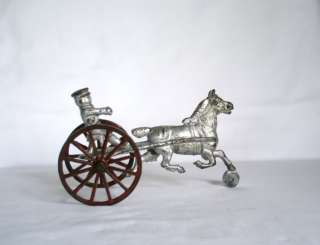Cast Iron Horse Drive Sulky Harness Racing Wheels Figure Childs Toy