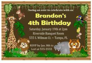 JUNGLE SAFARI BIRTHDAY BABY SHOWER INVITATIONS DIGITAL