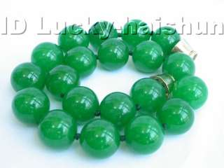 healthy round natural green jade necklace 20mm