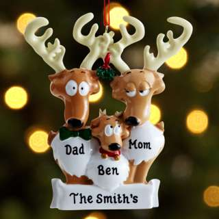 Personalized Reindeer Family Christmas Ornament 3 Reindeer
