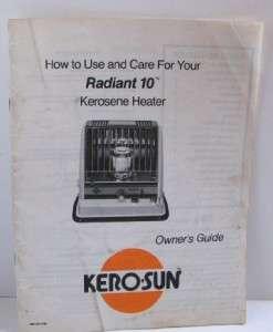 Kero Sun Radiant 10 Kerosene Heater Operator Owners Manual
