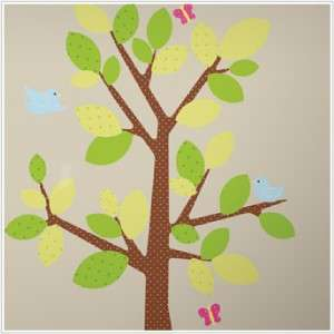 Kids Room Polka Dots Green Tree Wall Decals   Baby Nursery Dotted