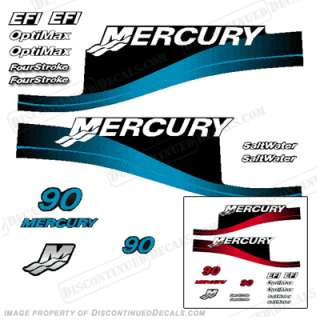 Mercury 90hp Outboard Decal Kit Blue or Red Available
