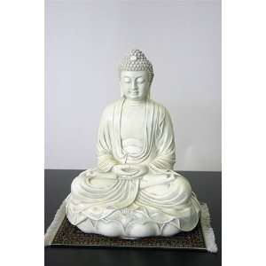 Buddha in Meditation on Lotus Sculpture, 11.5H, Stone