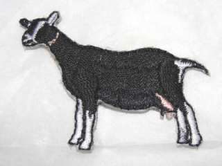 Alpine Dairy Goat Iron On Embroidered Applique Patch Black White