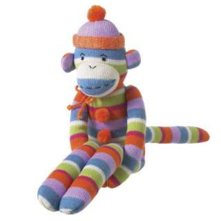 MONKEEZ 22 SOCK MONKEY HAT PLUSH DOLL   PINK STRIPE