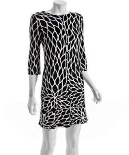 JB by Julie Brown black leaves print jersey Morgan 3/4 sleeve dress