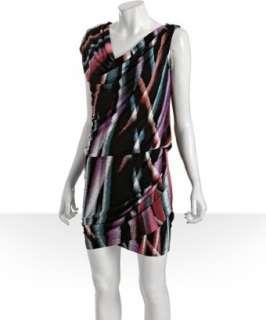 Julie Dillon black airbrush stripe jersey drop waist dress