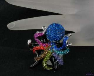 Large Fun Funky Multi Crystal OCTOPUS Cocktail Ring 8