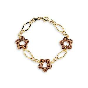 com New 14k Yellow Gold Leopard Print Flower Charm Bracelet Jewelry