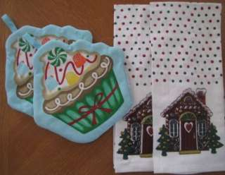 Holiday Kitchen Towel, Oven Mitt and Pot Holder Sets 4 Design Choice