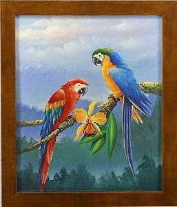 Macaw Parrot Couple Tree Branch Art FRAMED OIL PAINTING