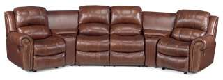 Cognac Leather 4 Seat Home Theatre Recliner Sofa