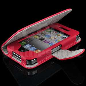 Red Premium Little Witch Wallet Design Leather Case for Apple iPhone 4