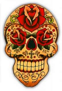 DAY OF THE DEAD DECAL STICKER TATTOO STYLE LOS MUERTOS SKULL