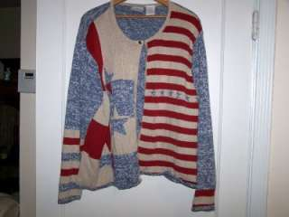 CUTE WOMENS STARS & STRIPES SWEATER   SIZE 3XL   BY BLAIR   PRE OWNED