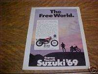 1969 Suzuki TS 250 Savage Motorcycle Advertisement, Vintage Ad