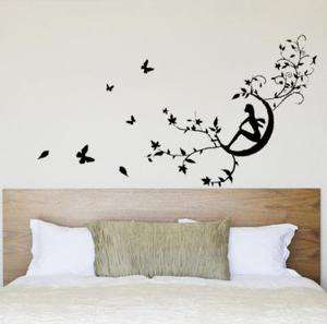 Beautiful Girl On the Moon Butterfly Flower Wall Sticker Decal