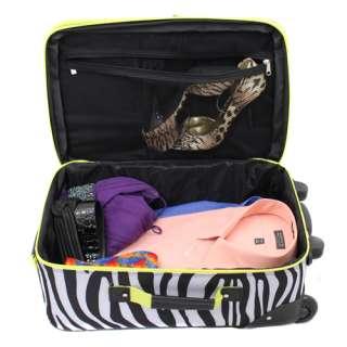 Rockland 2 Pc Upright Carry On Luggage Set   Lime Zebra