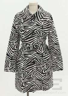 Michael Michael Kors Black & White Zebra Print Cotton Belted Jacket