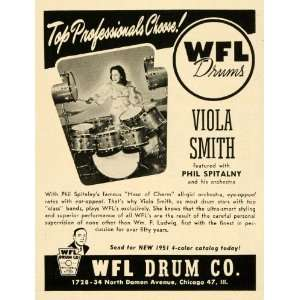 1951 Ad WFL Drums Viola Smith Phil Spitalny Orchestra
